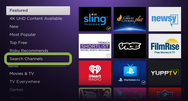 Search channels to activate Philo on Roku