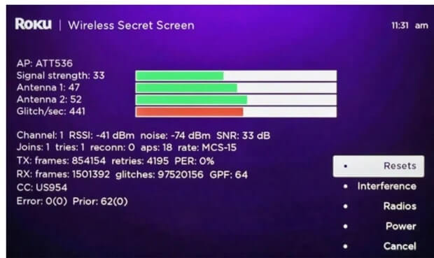 Use Secret  menu to get signal strength of your WIFI