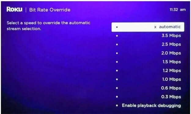 use Roku secret menu to heck bit rate override