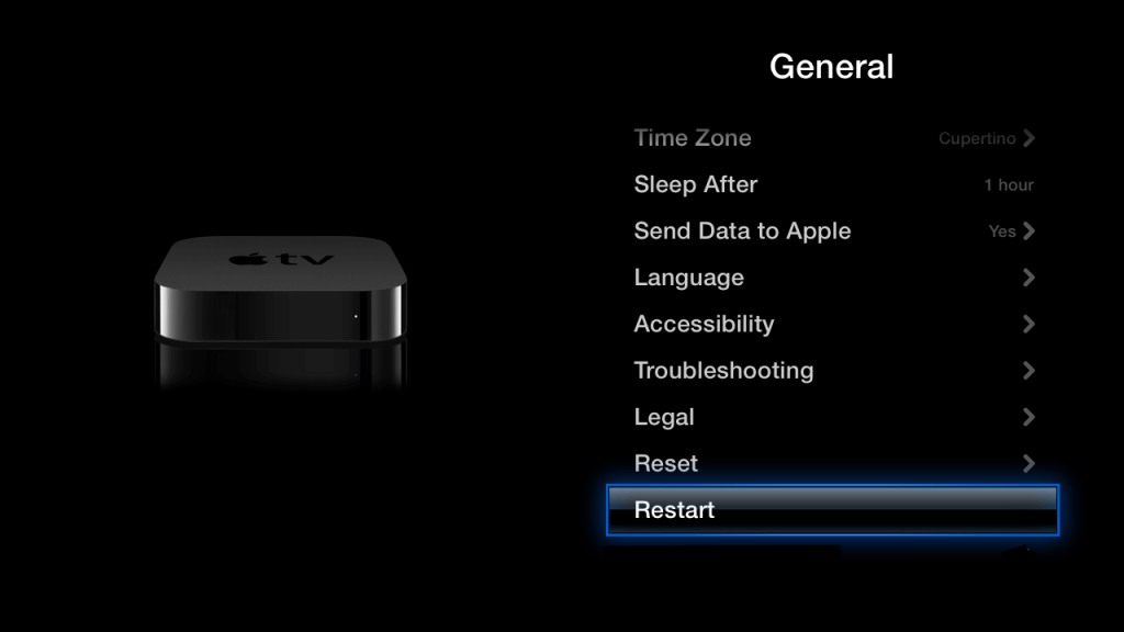 Restart your Apple TV if Apple TV remote is not working