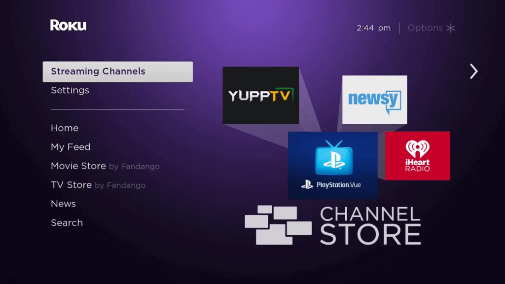 click on streaming channels to install Britbox on Roku