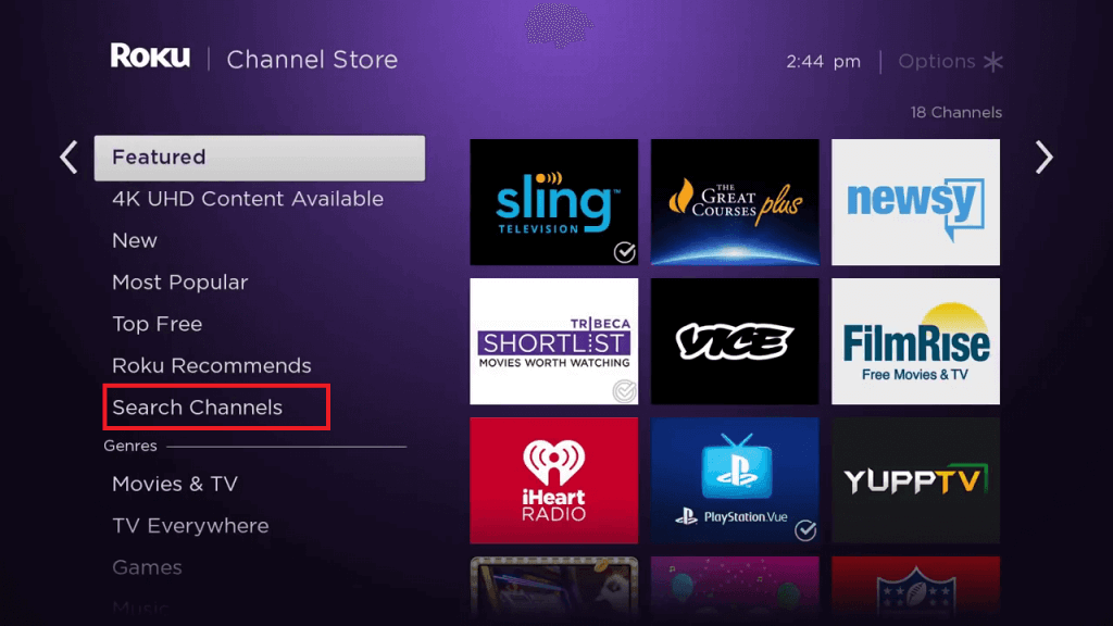 click on Search Channels to install Britbox on Roku