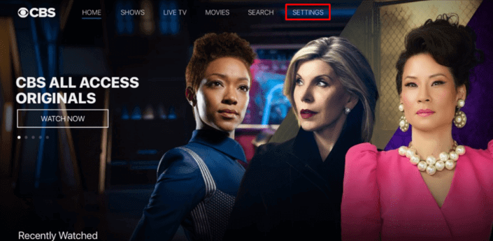 Click on settings to watch CBS on Apple TV