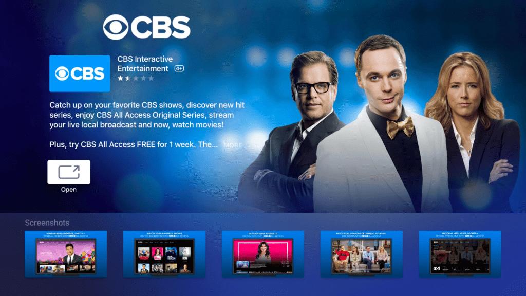 Open CBS to watch CBS on Apple TV