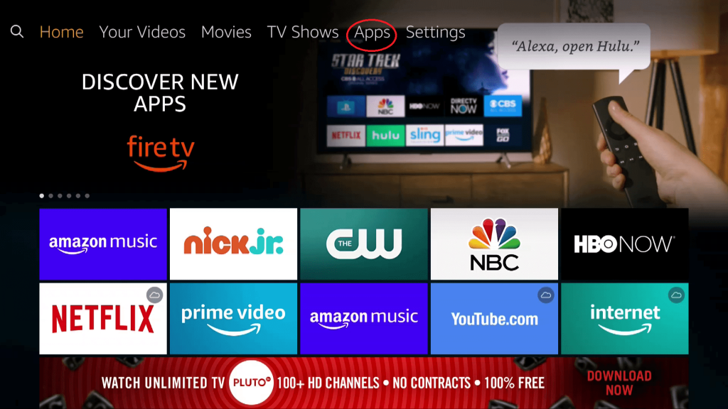 click on Apps to watch Friends Reunion on Firestick