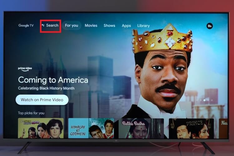 Click on Search to install HBO Max on Google TV to stream friends reunion