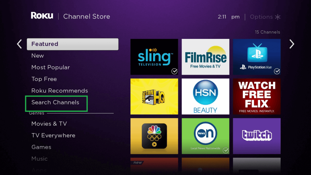 Click on Search Channels to watch Friends Reunion on Roku