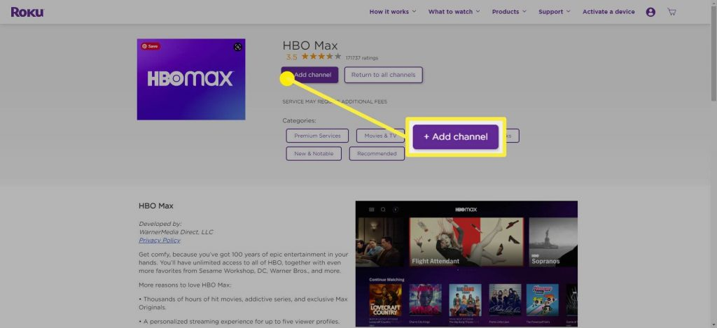 Click on Add channel to install HBO Max