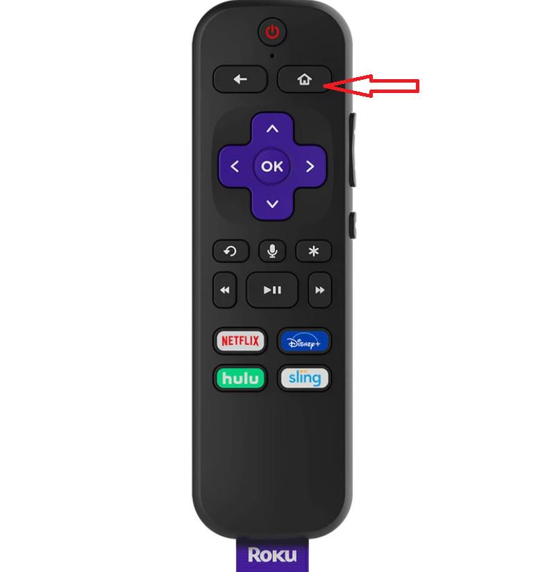 Click Home button to restart Roku device