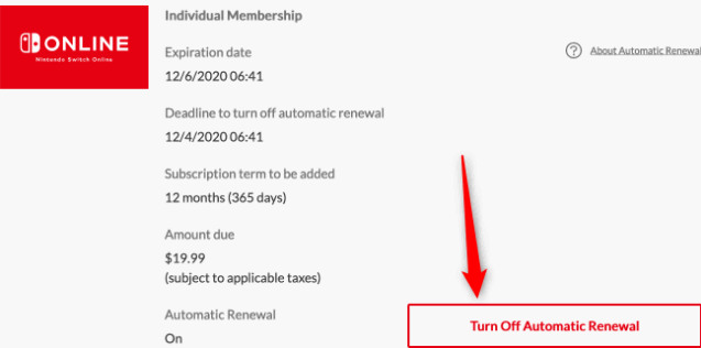 Click on Turn off Automatic Renewal to cancel the nintendo online
