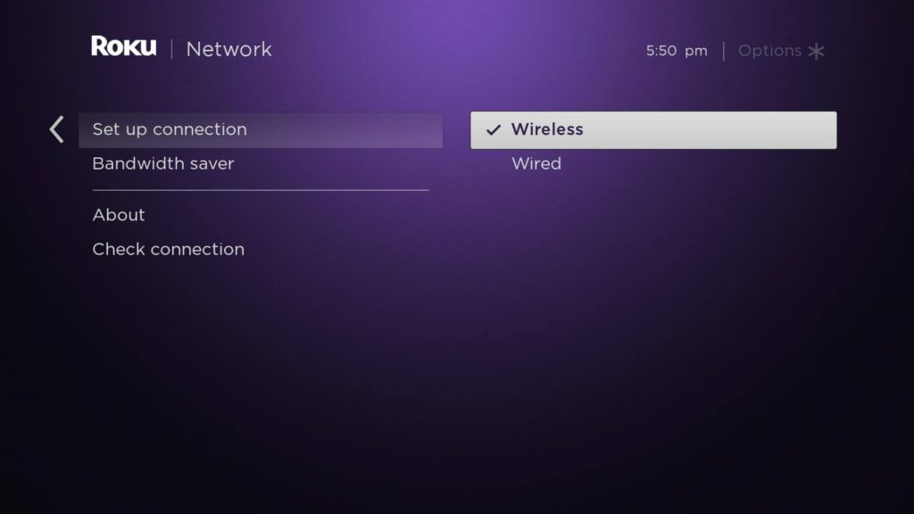 Select wireless to connect Roku to WIFI without remote