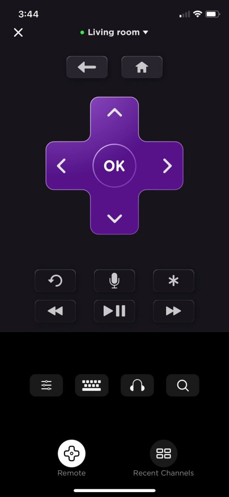 Open the remote control in your Roku app
