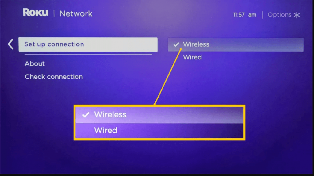 Select wireless to connect Roku to WIFI