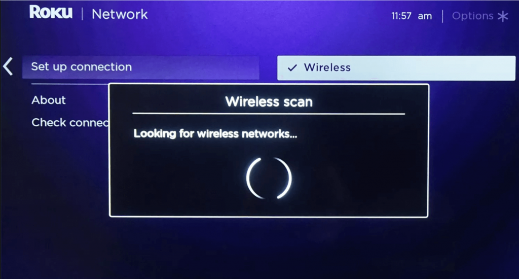 Your device will scan for the WIFI network