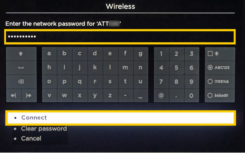 Enter the password  to connect Roku to WIFI