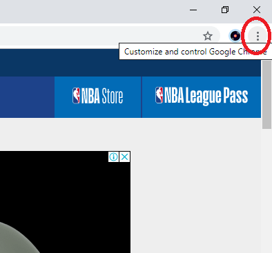 Click on the three dot icon to Chromecast NBA