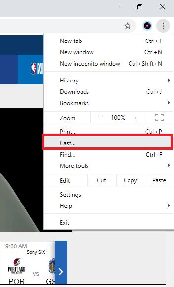 Select cast option to Chromecast NBA