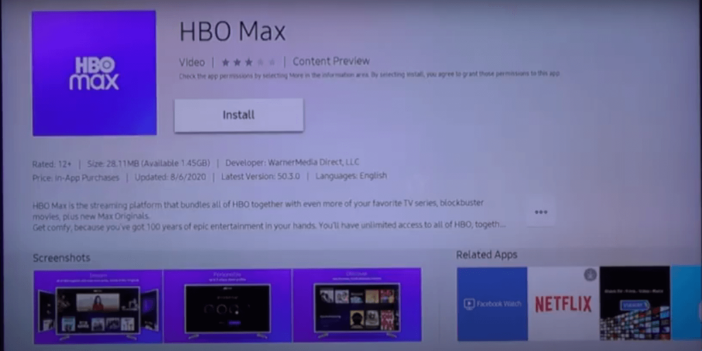 click on Install to install HBO Max on Samsung Smart TV