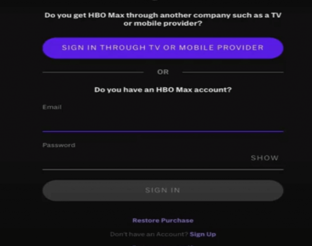 Sign in with your HBO Max account