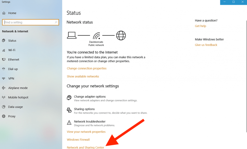 click on network sharing center to find your mac address on PC