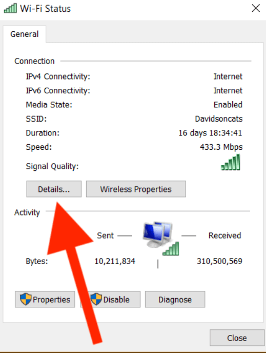 click on details to find your mac address on PC