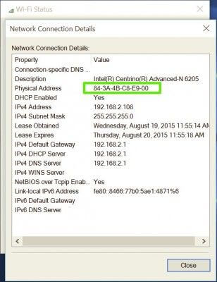 you will find your mac address on PC