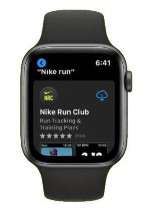 click on get to use Nike Run Club on Apple Watch