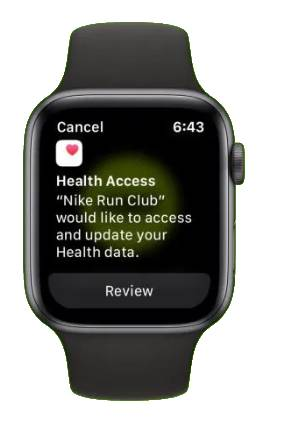 Tab on review to connect Nike Run Club to Apple's health app