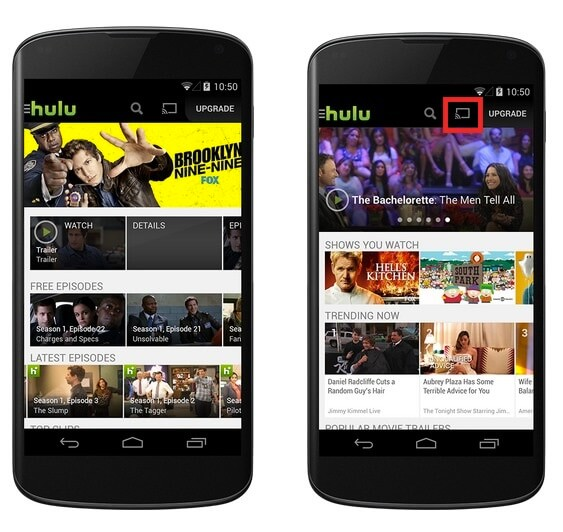 Click on cast icon to stream Hulu on Philips Smart TV