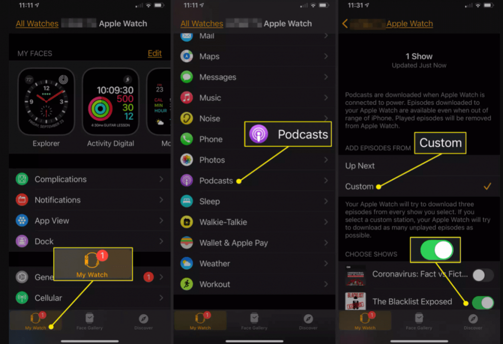 set podcasts on iPhone to listen podcasts on Apple Watch