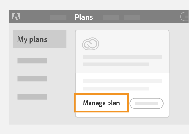 click on manage plan to Cancel Adobe Creative Cloud Subscription