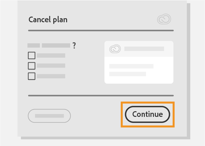 click on continue to Cancel Adobe Creative Cloud Subscription
