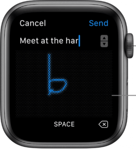 press the scribbler icon to text on apple watch