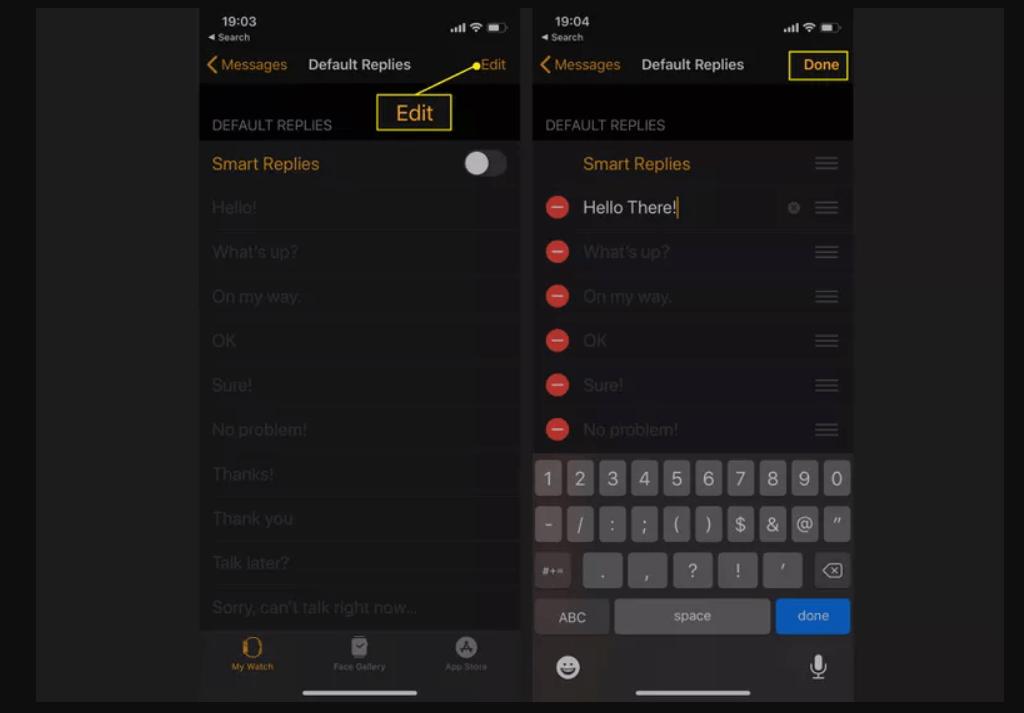 click on edit to create custom responses