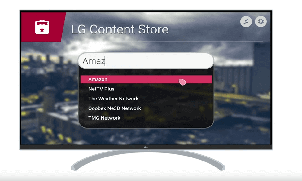 search for amazon prime in LG content store
