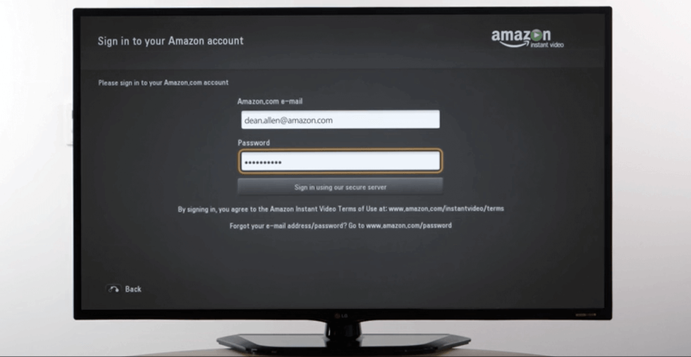 sign in with your account to watch amazon prime on LG Smart TV