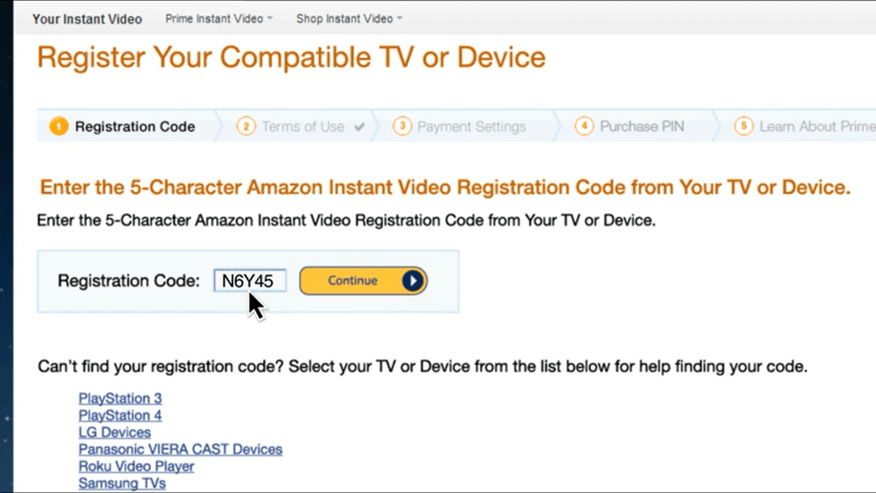 enter the activation code to activate amazon prime on LG Smart TV