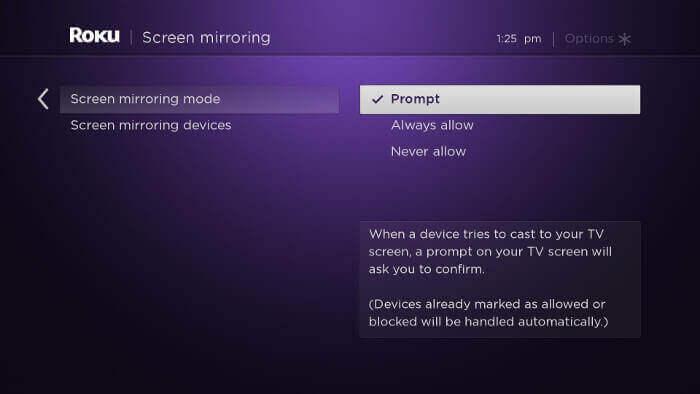 set up screen mirroring on Roku