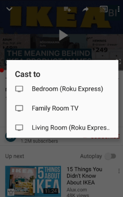 click the cast icon to cast to roku