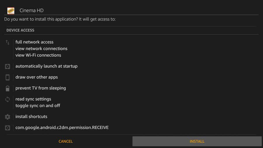 click on install to install Cinemax HD on firestick