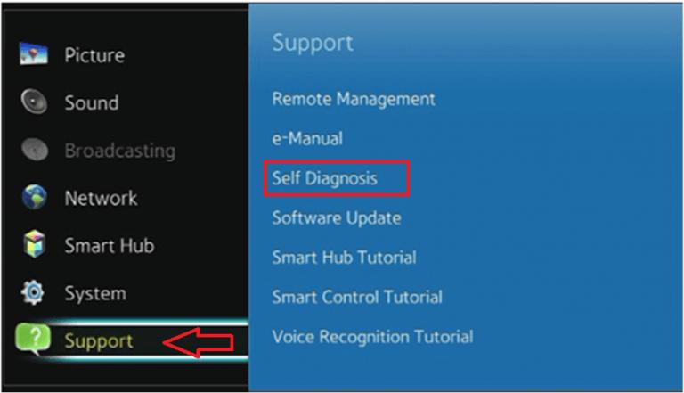 click self diagnosis to restart samsung smart tv