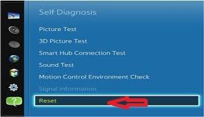 click reset to restart samsung smart tv