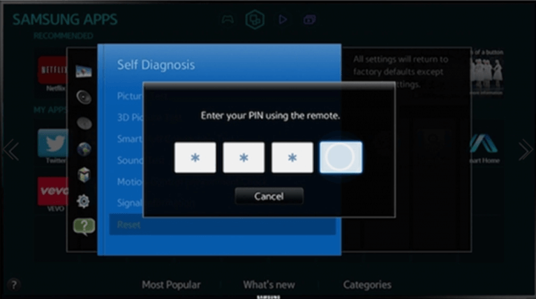 enter the pin to restart samsung smart tv
