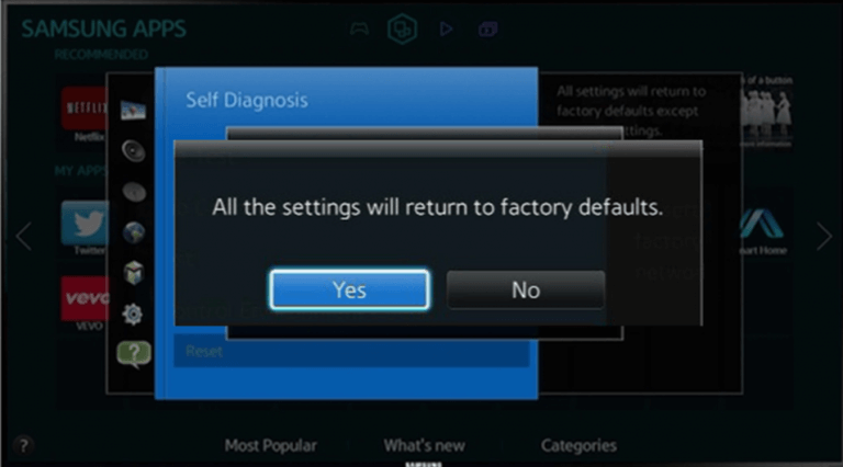 click yes to confirm to restart samsung smart tv