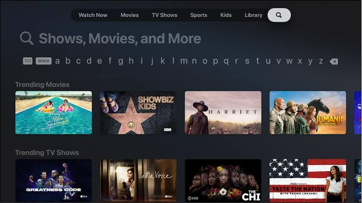 tap the search icon to watch tubi on apple tv