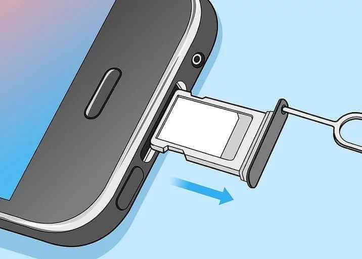 Open the SIM card slot on iPhone.